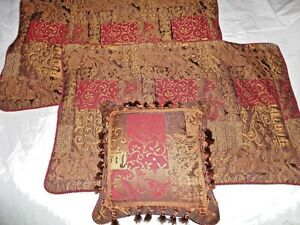 CROSCILL GALLERIA PATCHWORK RED BROWN TUSCAN (3P) KING PILLOW SHAMS & PILLOW SET