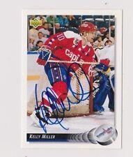 92/93 Upper Deck Kelly Miller Washington Capitals Autographed Hockey Card