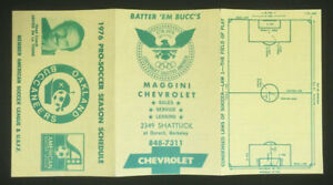 Oakland Buccaneers ASL 1976 Only Year Pocket Schedule Defunct Soccer NASL - RARE