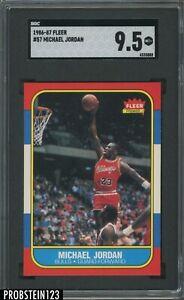 1986 Fleer Basketball #57 Michael Jordan Chicago Bulls RC Rookie HOF SGC 9.5