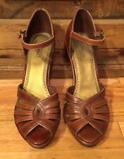 Seychelles Brown Leather Platform Wedges. Size 9 Caged Top