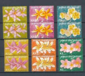 PAPUA 2006 Frangipani Orchids Flowers MNH Pairs (12 Stamps)PAP112