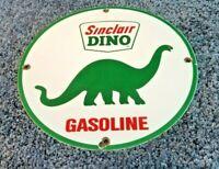 VINTAGE SINCLAIR GASOLINE PORCELAIN DINO SERVICE STATION PUMP PLATE OIL AD SIGN
