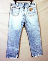 vtg 80s 90s Wrangler 13MWZGN USA Made Distressed Worn Denim Jeans sz 36 X 30