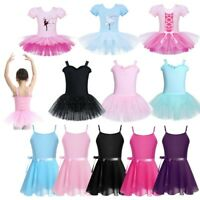 Girls Ballet Tutu Dress Kids Gymnastics Sleeveless Leotard Mesh Skirts Dancewear