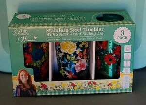 Pioneer Woman 3 Pack Tumblers Stainless Steel Floral 18oz New