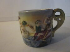 VINTAGE S.G.K. OCCUPIED JAPAN PORCELAIN RAISED CHERUBS & COUPLE IN LAKE TEA CUP
