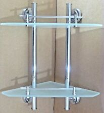 2 Tier Bathroom Corner Shelf Shelve Glass Wall Mounted Storage Caddy RRP£142.95