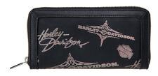 Harley-Davidson Women's Silver Flash Black Leather Wallet HDWWA11073