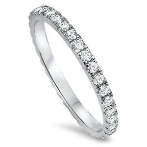 NEW STACKABLE ETERNITY RING Genuine STERLING SILVER Ring SZ 4 5 6 7 8 9 10 11 12