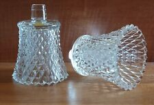 Set of 2 clear diamond point glass peg votive sconce candle holders