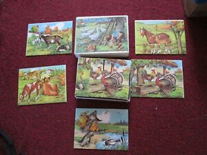 Vintage 12 Piece Pictured Cube  Puzzle Farmyard: chickens, geese, ducks, cows