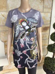Authentic Women's Christian Audigier Ed Hardy Grey Tattoo T-Shirt L 10 BNWT