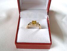 1.27 Ct. Yellow & White Sapphire '3 Stone'  14k Gold Ring