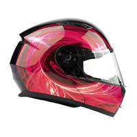 Modular Helmet Flip Up Motorcycle Adult Red Swirl DOT Integrated Sun Visor
