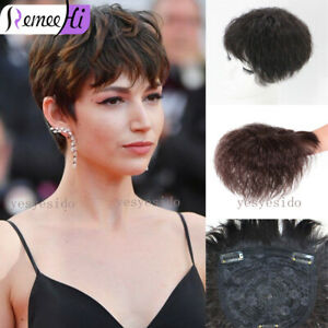 Short Curly Human Hair Topper Toupee Hairpiece Top Replacement Cover Loss Hair