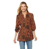 Melissa McCarthy Seven7 Women's 3/4 Sleeves Pintuck Blouse Top Small Size HSN