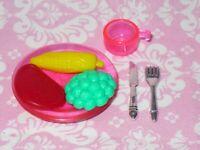 Mattel Barbie Doll DINNER LOT STEAK & VEGGIES Kitchen Dream House Accessories
