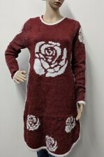 Ladies Womens Tinsel Knitted Wine Dress Crew Neck Jumper Long Sleeve Stretch
