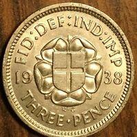 1938 UK GREAT BRITAIN SILVER THREEPENCE CIRCULATED