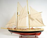 "Painted Bluenose II LARGE SAILBOAT 47"" Schooner Ship Collectible Display Model"