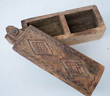 VINTAGE HAND CRAFTED CARVED WOODEN BOX PRIMITIVE