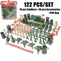 122PCS Military Soldier Kids Model Toy Army Men Aircraft Rocket Sand Scene