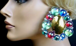 """""""Bubble"""" Bombe Button Rhinestone Earrings DragQueen Costume Prom Pageant Stage"""