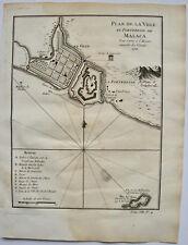 PLAN DE LA VILLE ET FORTERESSE DE MALACA , BELLIN , 1750 , MALAISIE