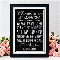 UNPLUGGED WEDDING Chalkboard Vintage Style Signs NO CAMERAS Wedding Signs