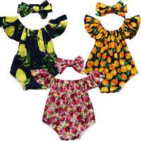 Newborn Infant Baby Girl Off Shoulder Floral Romper Jumpsuit Headband Outfit Set
