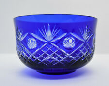 Cobalt Blue Cut to Clear Overlay Glass Small Finger Bowl Bohemian Circles & Fans