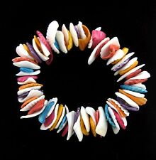 Bright Color SEASHELLS BRACELET Vintage Sea Shell PIECES Elastic, Stretchy Dyed
