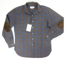 NEW OVADIA & SONS BROWN BLUE WINDOWPANE CHECK SHIRT W ELBOW PATCHES SIZE L