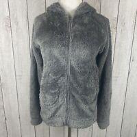 Poof Women's Size M Full Zip Faux Shearling Teddy Bear Fleece Coat Hoodie Gray