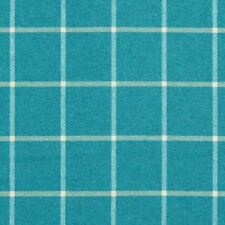 Robert Allen Wool Upholstery Fabric- Helios Plaid Turquoise 1.30 yd (227894)