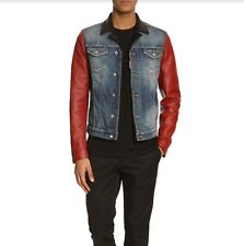 DSQUARED2 New Denim Leather Sleeves Jean jacket Made in ltaly size ltaly 46 US S