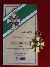 GÖDE Orden Sachsen 1850 - Albrechts Orden + Zertifikat Nr.1032