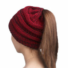 Womens Girl Stretch Knit Hat Messy Bun Ponytail Beanie Holey Warm Hats Winter UK