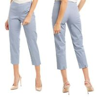 Piazza Sempione Pants Size 42 Womens Audrey Capri Trouser Cropped Blue Print NEW