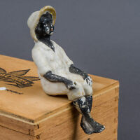 Pre-War Porcelain Bisque Figurine Sitting Fishing Young Black Man Made in Japan