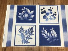 INDIGO BLUE FERNS & LEAVES quilters cotton Fabric PANEL 24 x 44