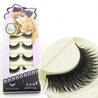 5Pairs New Makeup False Eyelashes Soft Natural Cross Long Eye Lashes Extension