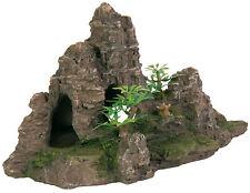 Mountain Rock & Plantas Artificial Decoración para Acuarios Ornamento Reptil Terrario
