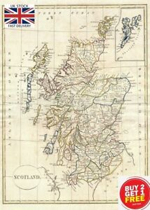 🇬🇧 Clement Cruttwell Antique Ancient Map of Scotland A3 Embossed Canvas  🇬🇧