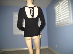 Bebe BLK Rhinestone Logo Long Sleeve Caged Back Top NWT~S~Only One~