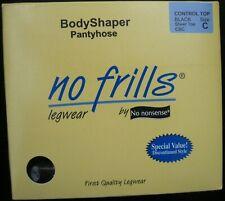 No Nonsense Bodyshaper Pantyhose Control Top Black Sheer Toe Size C New In Box!
