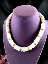 FABULOUS RETRO 1950'S CROWN TRIFARI WHITE LUCITE GOLD-TONE BEAD COLLAR NECKLACE
