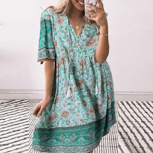 Womens Short Sleeve V Neck Short Dress Floral Bohemian Summer Beach A-Line Dress