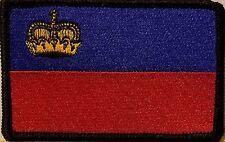 Liechtenstein Flag Patch With VELCRO® Brand Fastener Morale Emblem BLACK Border